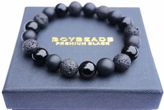 """Abel"" BOYBEADS 10mm Black Onyx + Lava Bracelet for Men NYC"