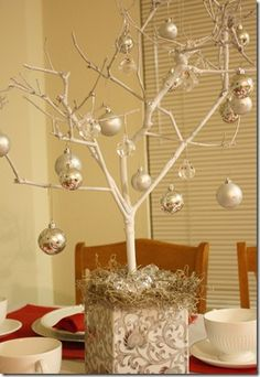 This would be a good centerpiece and way to display your names of Jesus ornaments. Branch Centerpieces, Party Centerpieces, Christmas Centerpieces, Outdoor Christmas Decorations, Holiday Decor, Beautiful Christmas, White Christmas, Christmas Holidays, Christmas Crafts