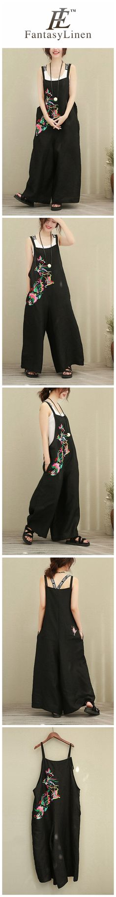 Black Loose Wide Leg Embroidery Pattern Cotton Linen Overalls Women Clothes  9110