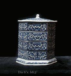 Porcelain Hexagon Blue & White Stack Candy Box - Golden Lotus Antiques