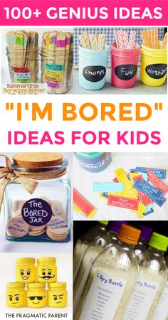 """Hundreds of genius activities for when your kids complain """"I'm Bored!"""" I'm bored."""" Kids love saying it; parents hate hearing it. Hundreds of screen-free ideas including fun games, activities, crafts, learning, chores, kind acts and much more! #summeractivitiesforkids #imboredjar #kidsarebored #summerfun #summerwithkids #thingsforkidstodo via @https://www.pinterest.com/PragmaticParent/"""