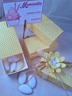 Set di 10 scatoline porta confetti in combinazione colori Giallo e Crema, ideali per matrimonio, o altro evento speciale