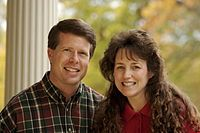 """Jim Bob and Michelle Duggar.  American  state legislator who served in the Arkansas House of Representatives from 1999 to 2002.  Television personality on the reality series """"19 Kids and Counting.""""  Homeschoolers."""