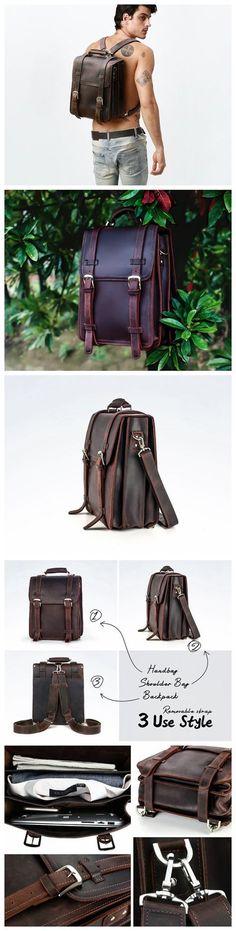 """17""""Men Leather Backpack Vintage Fashion Genuine Leather Tote Handbag, Leather Messenger Bag, Laptop Backpack, Duffle Bag, School Bag Satchel"""