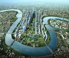 The Sino-Singapore Tianjin Eco- city masterplan. City Landscape, Fantasy Landscape, Urban Landscape, Landscape Design, Tianjin, Green Architecture, Futuristic Architecture, City Skylines Game, China Tourism