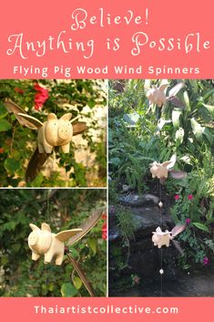 Flying Pig Wooden Wind Spinners / Mobile - When Pigs Fly