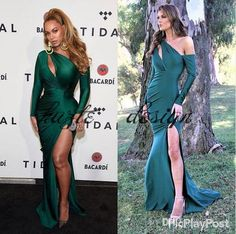 2018 Hunter Green Shail K Mermaid Prom Pageant Dresses with Sleeves Modest Sexy Split Keyhole Breast Full Length Evening Wear Gown Mermaid Wedding Dress Long Sleeve Wedding Dresses Lace Wedding Dress Online with $139.43/Piece on Kazte's Store | DHgate.com
