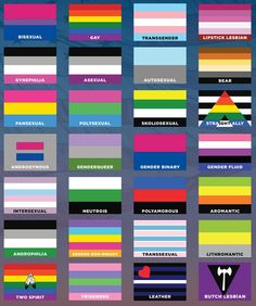 lgbt, flags, chart, gay, bisexual, gay, transgender, lipstick lesbian, gynephilia, asexual, autosexual, bear, pansexual, polysexual, skoliosexual, straight ally, androgynous, genderqueer, gender binary, gender fluid, intersexual, neutrois, polyamorous, aromantic, androphilia, gender non-binary, transexual, lithromantic, two spirit, trigender, leather, butch lesbian