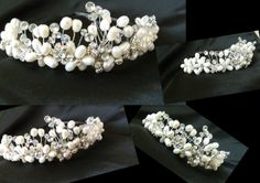 This wedding tiara was commissioned for a bride who loved pearls for her wedding day in a princess style