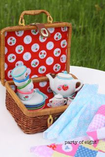 Sweet little tea set dressed up with Elea Lutz' Strawberry Biscuit fabric line #ilovepennyrose #fabricismyfun