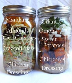 Meals to make ahead  http://www.bigredkitchen.com/2011/08/how-to-make-mason-jar-meals-part-2.html