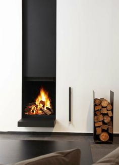 modern architecture - fireplace - metalfire - ultime c - wood fireplace with sliding door