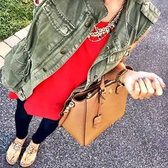 IG @mrscasual <click through to shop this look> Old navy red tunic tank.  Cargo vest.  Tory burch robinson tote bag.  Skinny jeans.  Tory burch miller sandals.  layered necklace