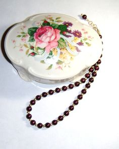 Burgundy Glass Pearl Necklace and Earrings by PrettyWearJewelry, $15.00
