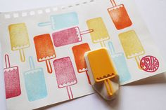 ice cream stamp. hand carved rubber stamp by talktothesun