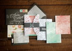 Romantic Watercolor + Lace Wedding Invitations by Crissie McDowell via Oh So Beautiful Paper (7)