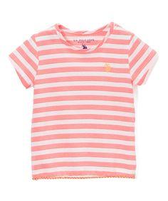 Neon Pink Stripe Fly Away Back Tee - Toddler & Girls