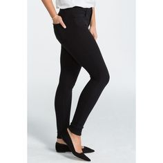 SPANX 5 Pocket High-Rise Super Skinny Jean ($50) ❤ liked on Polyvore featuring jeans, very black, fitted jeans, super high rise skinny jeans, high rise jeans, skinny fit jeans and high-waisted jeans