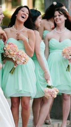Mint green bridesmaid dresses these are cute Summer!!!