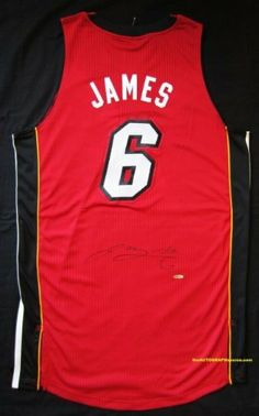 on sale dea6a 2fa38 LeBron James Autographed Miami Heat Jersey - Red .  1479.00. A Red  Alternate Adidas On