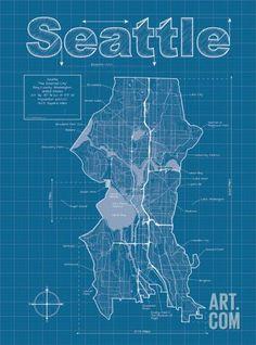 London artistic blueprint map destinations london places and seattle artistic blueprint map malvernweather Image collections