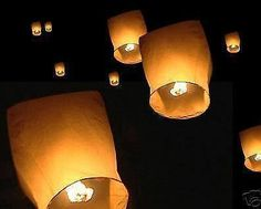 10x Chinese Flying Lantern Eco Friendly Biodegradable