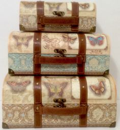 Punch Studio French Butterfly Decorative Storage Suitcases Trunks Boxes Set  Of 3 #PunchStudio #butterfly