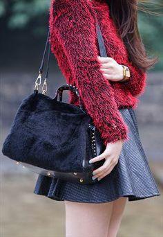 Studded Faux Fur Bag £18.99