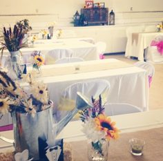Country Bridal shower...  I made burlap table runners