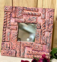 DIY boho fragment mirror kit – ellen j goods Fabric Coasters, Wooden Coasters, Mirror Kit, Tin Walls, Iron Orchid Designs, Wooden Tags, Boho Diy, Air Dry Clay, Beautiful Wall