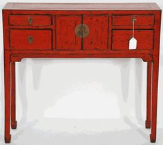 Asian Inspired Console | Asian Furniture: Asian Inspired Red Lacquered Console  Table From