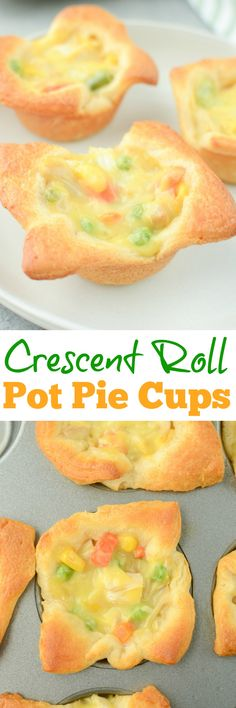 Chicken Pot Pie Cups – only 4 ingredients and ready in 30 minutes! Crescent roll cups filled with chicken pot pie filling and baked until golden brown and delicious.