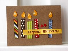 bright patterned paper candles on kraft...like this b-day card!!    flame could be the leaf part of the ek big flower punch!!!!