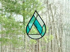 Stained glass raindrop suncatcher teardrop by DesignsStainedGlass #waterdrop, #teardrop, #raindrop