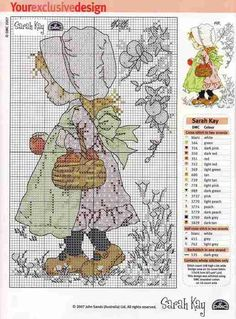 Cross Stitch : Sarah Kay Could someone tell me how I can make it bigger to print and still see symbols. Cross Stitch For Kids, Cross Stitch Love, Cross Stitch Needles, Cross Stitch Flowers, Cross Stitch Charts, Cross Stitch Designs, Cross Stitch Patterns, Holly Hobbie, Cross Stitching