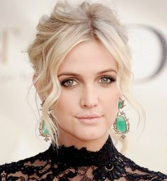 Ashlee Simpson's ladylike updo—featuring uber-light face-framing waves—lends her a sophisticated air.