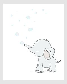 Elephant Nursery Art Elephant Bubbles by SweetMelodyDesigns
