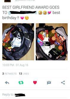 My Very Own Gift For Boyfriend Food Candy Snacks Energy Chews Nike Bag Shirt Tights Gloves Socks Etc