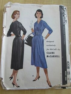 RARE Vintage CLAIRE MCCARDELL Misses DRESS SEWING PATTERN McCall's 4228 Bust 36 #McCalls