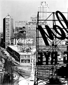 Columbus Circle. Building with Coke sign another of Hearst's skyscraper bases. Unlike the one Foster is currently completing, this one was torn down for the Gulf and Western Building, now re-imagined by Phillip Johnson as the Trump International Hotel