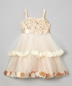 Take a look at this Champagne Petal Tiered Dress - Toddler & Girls by Shanil on @zulily today!