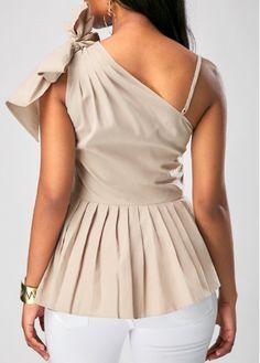 Peplum Waist One Shoulder Sleeveless Blouse | Rosewe.com - USD $28.21