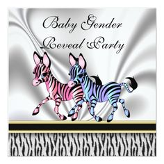 Shop Zebra Baby Gender Reveal Party Invitation created by TinyTots. Personalize it with photos & text or purchase as is! Pregnancy Gender Reveal, Baby Gender Reveal Party, Gender Reveal Party Invitations, Custom Invitations, Invites, Baby Zebra, Reveal Parties, Baby Gifts, New Baby Products