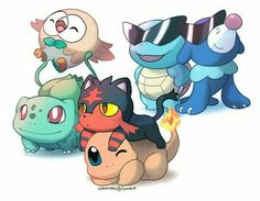 Starter Pokémon, Bulbasaur, Rowlet, Charmander, Litten, Squirtle, Popplio, sunglasses, cute; Pokémon