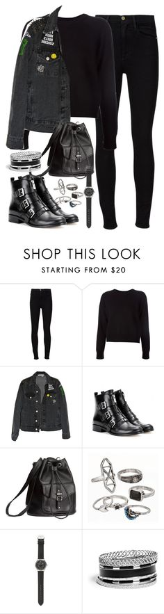 """Requested outfit"" by ferned ❤ liked on Polyvore featuring Frame Denim, T By Alexander Wang, MICHAEL Michael Kors, H&M, Mudd, J.Crew and GUESS"