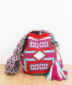 wayuu mochila bag red pink
