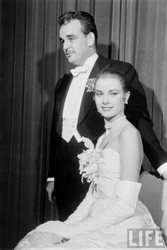 GRACE KELLY night following announcement of her engagement to Prince Rainier