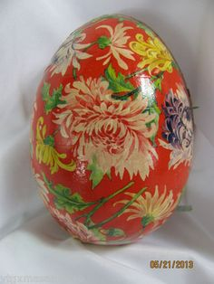 antique german easter egg dresden candy container red flower paper cardboard
