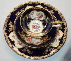 AYNSLEY ATHENS COBALT BLUE  ARISTOCRAT TEA CUP AND SAUCER TRIO #AYNSLEYCHINAENGLAND