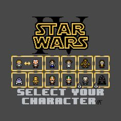 Awesome 'STAR+WARS%3A+EPISODE+IV+-+A+NEW+HOPE+SELECT+SC - The characters shown include (from left to right): Luke Skywalker, Han Solo, Princess Lea, Chewbacca, Ben Kenobi, R2-D2, C-3PO, Biggs Darklighter, Wedge Antilles, Grand Moff Tarkin, and Darth Vader. Based on the characters from the ground breaking classic Star Wars: Episode IV – A New Hope, rendered in the style of an 8-bit classic video game, this shirt follows the rules of 8-bit art in order to recreate an authREEN' design on…
